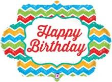 "Jumbo Bright Chevron Happy Birthday ~ 27"""