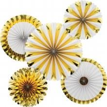 Fan Decorative Gold/White 5pk