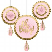 Oh Baby Pink Fan Decor 3pc