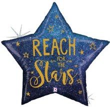 """Jumbo Star Holographic Reach For The Stars ~ 36"""""""