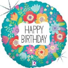 """Happy Birthday Holographic Wild Flowers ~ 18"""""""