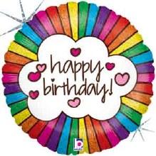 """18"""" Rainbow, Holographic Happy Birthday"""