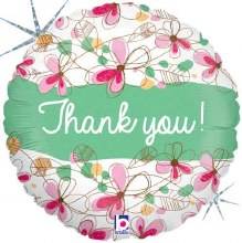 """Thank You Holographic Floral ~ 18"""""""