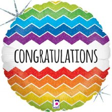 "Congratulations Holographic Rainbow Chevron ~ 18"""