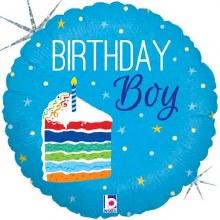 "Birthday Boy Cake Holographic ~ 18"""