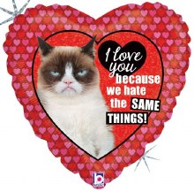 "Mylr 18"" Heart Grumpy Cat"