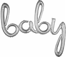 """AirFill Baby Silver Script Banner/Prop ~ 39"""""""