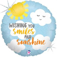 "Wishing You Smiles & Sunshine, Holographic ~ 18"""