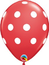 "11"" Matte Red w/ White Polka Dots"