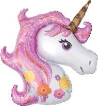 "Jumbo Unicorn w/ Pink Flowery Mane ~ 33"""
