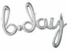 AirFill (You Fill) B-Day Silver Script Banner/Prop ~ 37""