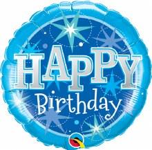 "Blue Sparkle Happy Birthday ~ 18"""