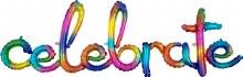 "AIRFILL (NO HELIUM) Celebrate Rainbow Script Banner ~ 14""x59"""