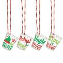 Christmas Shot Glass Necklaces (4pc)