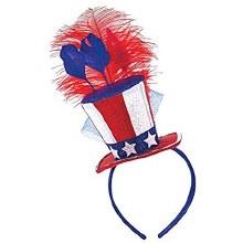 Patriotic Feathered Hat Headband
