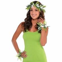 Lei Set Green Leaf w/ Flowers