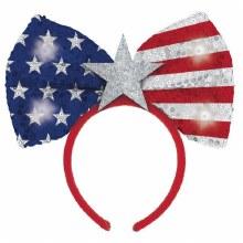 Patriotic Lite Up Bow Headband