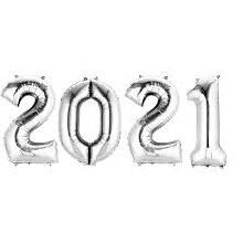 """Jumbo Helium 40"""" Number Set ~ Silver 2021"""
