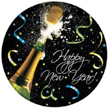 """New Year Champagne 9"""" Plates"""