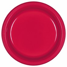 Apple Red 10in Plastic Plates 20ct