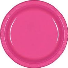 Bright Pink 10in Plastic Plates 20ct