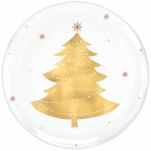 """Golden Christmas Tree Foil Hard Plastic Plates ~ 4 Pack/7.5"""""""