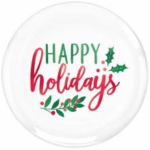 "Happy Holidays Hard Plastic Plates ~ 20 Pack/7"""