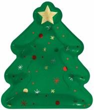 "Christmas Tree Shaped Plates ~ 8 Pack/10.5"""
