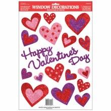 Glitter Heart Window Clings