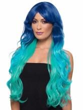 Fashion Mermaid Wig, Blue/Teal, Wavy