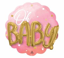 "Oh, Baby Pink Jumbo Mylar ~ 30"""