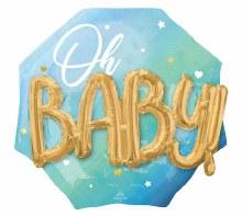 "Oh, Baby Blue Jumbo Mylar ~ 30"""