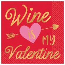 Wine is My Valentine Beverage Napkins 16ct