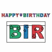 Banner Happy Birthday Glitter