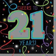 Brilliant 21st Birthday Beverage Napkin