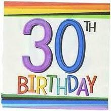 "Rainbow Birthday Beverage Napkins ""30""  16ct"