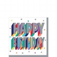 Happy Birthday Beverage Napkin 16ct