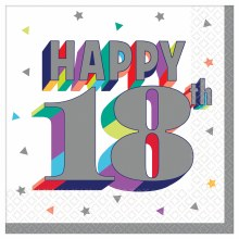 Happy 18th Beverage Napkin 16ct