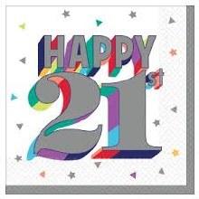 Happy 21st Beverage Napkins 16ct