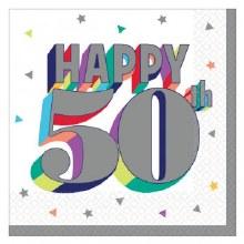 Happy 50th Beverage Napkin 16ct