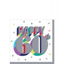 Happy 60th Beverage Napkin 16ct