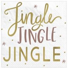 Jingle Jingle Jingle Foil Beverage Napkins ~ 16 Pack