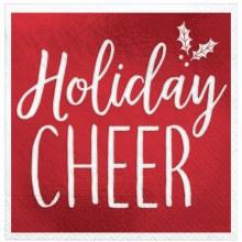 Holiday Cheer Foil Beverage Napkins ~ 16 Pack