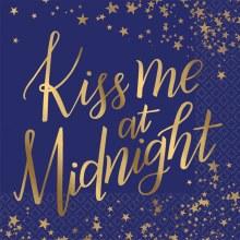 Kiss At Midnight New Years Beverage Napkins