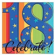 Celebrate 18th Birthday Beverage Napkins 16ct