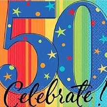 Celebrate 50th Birthday Beverage Napkins 16ct