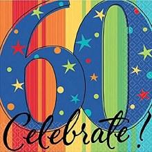 Celebrate 60th Birthday Beverage Napkins 16ct