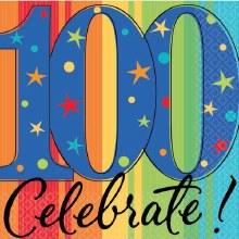 Celebrate 100 Birthday Beverage Napkins 16ct