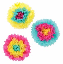 Tissue Flowers Brights 3pk