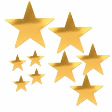 Star Cutouts Gold Foil 9pk